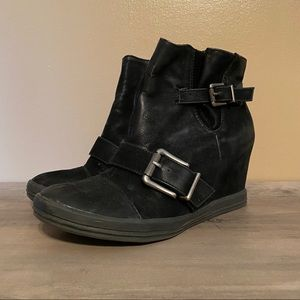 CALL IT SPRING Black Wedge Sneakers Size 10